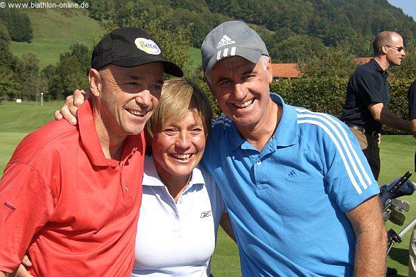 Fritz Fischer mit Christian Neureuther und Rosi Mittermaier
