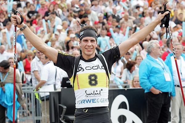 Arnd Peiffer beim City Biathlon