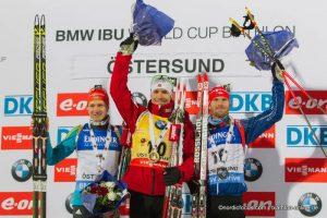Podium Einzel Herren Oestersund 2014 -  Serhiy Semenov (UKR), Emil Hegle Svendsen (NOR), Michal Slesingr (CZE)