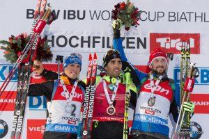 Gewinner Verfolgung Hochfilzen 2014 - Simon Schempp (GER), Martin Fourcade (FRA), Jakov Fak (SLO)