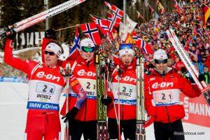 Emil Hegle Svendsen (NOR), Johannes Thingnes Boe (NOR), Tarjei Boe (NOR), Ole Einar Bjoerndalen (NOR)