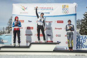 Podium Verfolgung Mädchen - 1. Lou Jeanmonnot (FRA) 2. Vera Rumyantseva (RUS) 3. Sophia Schneider (GER)