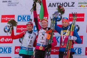 Daria Virolaynen (RUS), Darya Domracheva (BLR), Kaisa Maekaeraeinen (FIN)