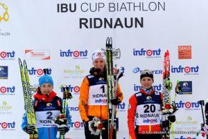 Gewinner Verfolgung Frauen Ridnaun 2015 - Yurlova (RUS) - Gössner (GER) - Varcin (FRA)