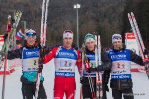 Johannes Thingnes Boe (NOR), Emil Hegle Svendsen (NOR), Erlend Bjoentegaard (NOR), Ole Einar Bjoerndalen (NOR)