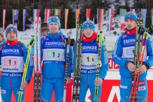 Evgeniy Garanichev (RUS), Timofey Lapshin (RUS), Alexey Volkov (RUS), Anton Shipulin (RUS)