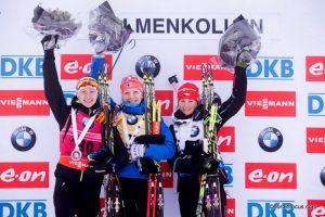 Darya Domracheva (BLR), Kaisa Maekaeraeinen (FIN), Veronika Vitkova (CZE)