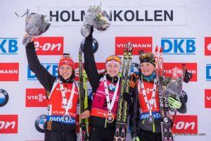 Laura Dahlmeier (GER), Darya Domracheva (BLR), Marie Dorin-Habert (FRA)