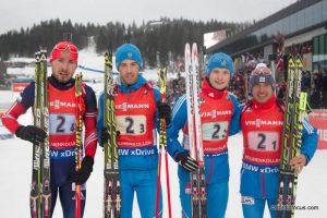 Anton Shipulin (RUS), Dmitry Malyshko (RUS), Maxim Tsvetkov (RUS), Evgeniy Garanichev (RUS)