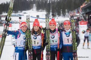 Staffel CZE: Veronika Vitkova (CZE), Jitka Landova (CZE), Gabriela Soukalova (CZE), Eva Puskarcikova (CZE)