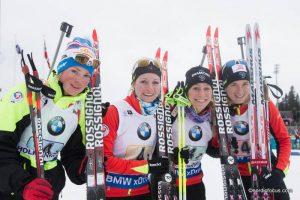 Staffel FRA: Marie Dorin (FRA), Caroline Varcin (FRA), Enora Latuilliere (FRA), Anais Bescond (FRA)