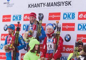 Anton Shipulin (RUS), Jakov Fak (SLO), Tarjei Boe (NOR), (l-r)