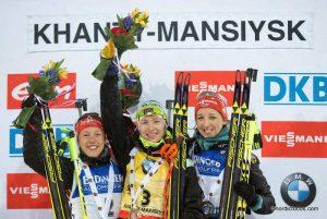 Laura Dahlmeier (GER), Darya Domracheva (BLR), Franziska Preuss (GER), (l-r)