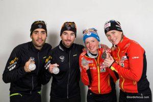 Martin Fourcade (FRA), Jean Guillaume Beatrix (FRA), Marie Dorin (FRA), Anais Bescond (FRA)