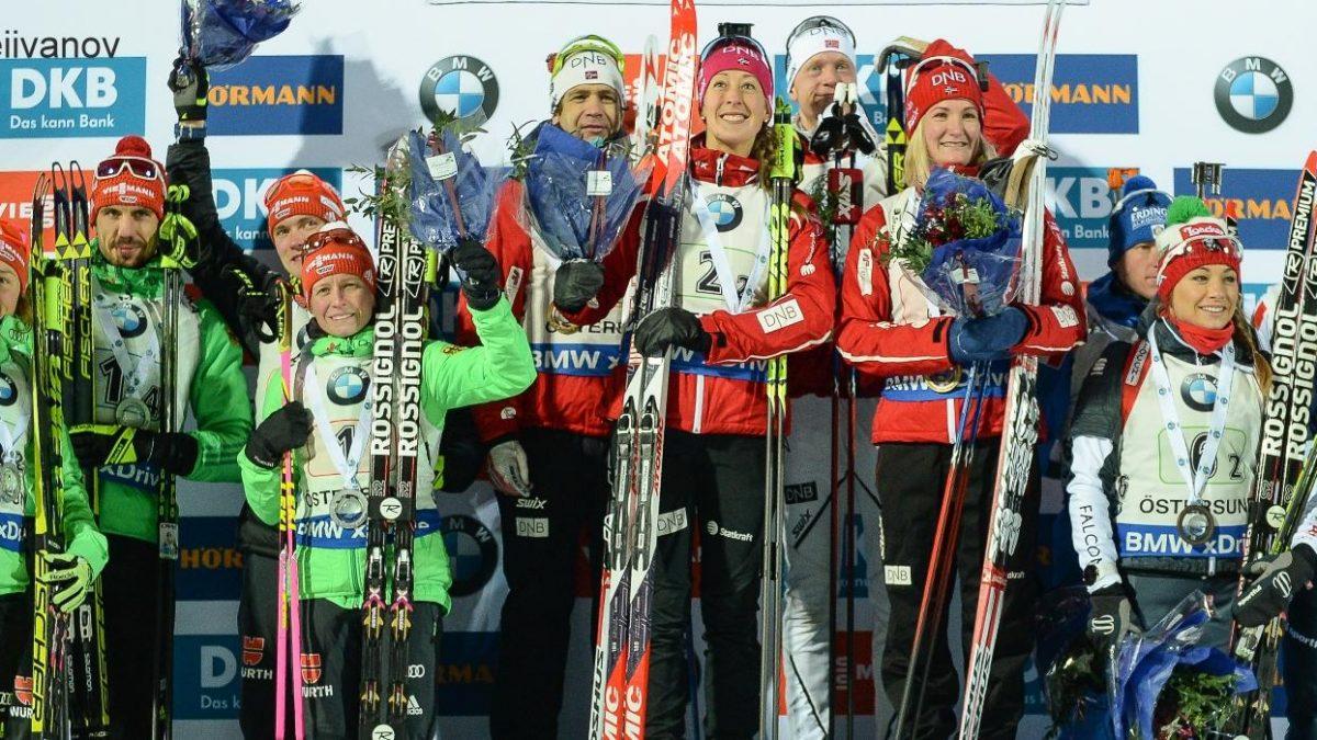 Biathlon Podest Mixedstaffel Östersund 2016