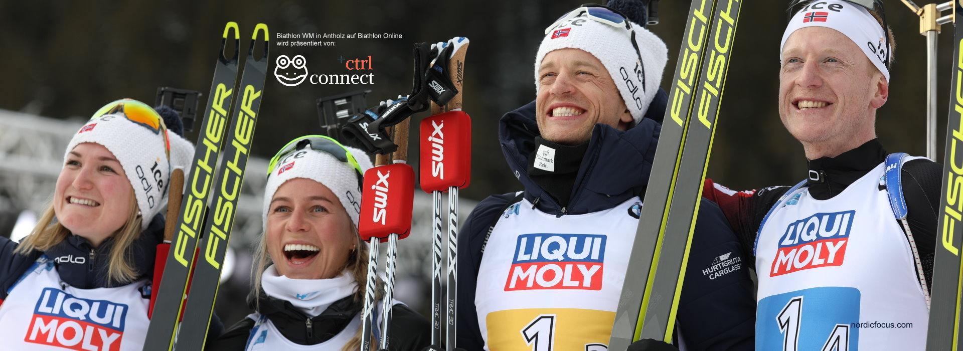 Sieg für Norwegen Mixed Staffel Biathlon WM Antholz 2020